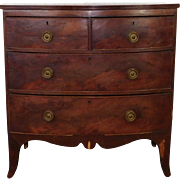 Antique English Mahogany George III Period 2 Over 2  Bowfront Chest Of Drawers c1830