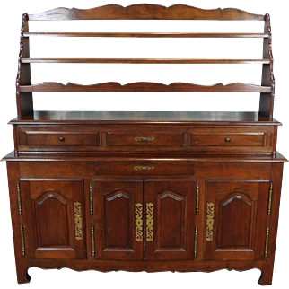 Quality French Made Oak Dining Room Buffet w/ Open Plate Rack Hutch c1970s
