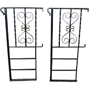 Pair Painted Black Scroll Wrought Iron Railings ~ Level Hand Rails ~ 21 D X 43H