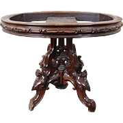 Antique American Victorian Renaissance Revival Thomas Brooks Carved Walnut Center Parlor Table ~ Base Only ~ c1860