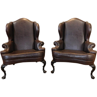Pair Brown Vinyl English Wing Back Smokers Room Armchairs c1990s