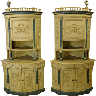 Pair Antique Victorian Carved & Paint Decorated Corner Cabinet Cupboards c1860