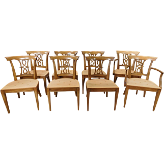 Set 8 1950s  Fruitwood Provincial Style Dining Room Chairs