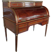 Antique French Louis XVI Style Mahogany w/ Bronze Cylinder Roll Top Desk ~ Late 19th Century