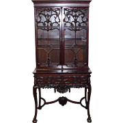 English 19th Century Carved Mahogany Rococo Revival Bookcase On Stand Cabinet