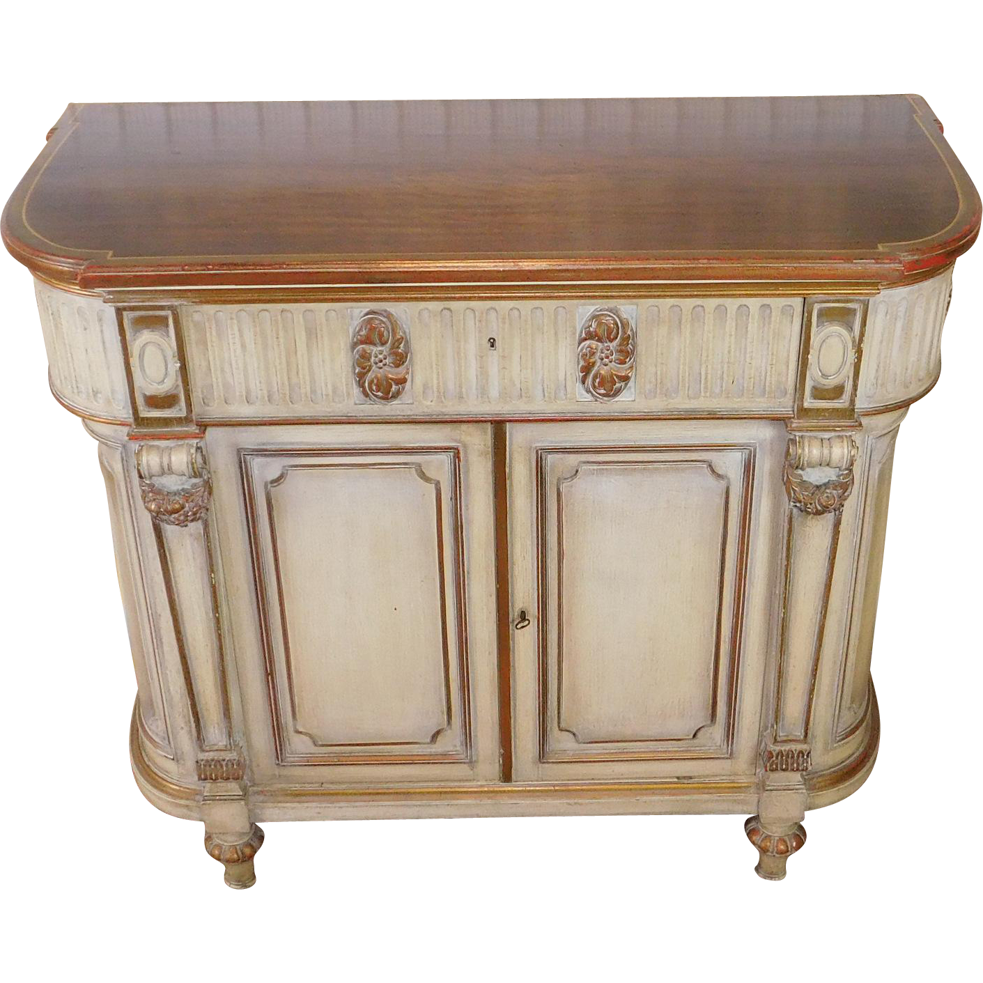washed painted classical walnut dining room server linen chest