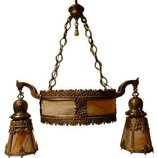 Antique Oval 3 Socket Hanging Pendant with Bent Carmel Glass Hanging Shades circa 1915-30