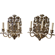 Pair of E.F. Caldwell 3 Light Sconces, signed ,Circa Early 20th Century