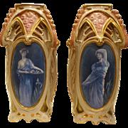 Early 20th Century  Pair Austrain Art Nouveau Vases Turn Teplitz Hand Painted Artist Signed