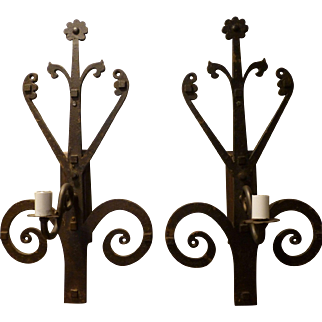 Antique Pair of Folk Art Iron Sconces circa 1890-1915