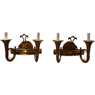 Pair of Double Arm French horn Brass Sconces with Stylized Dolphins circa 1930.s-40's