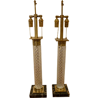 Pair French Cut Glass Table Lamps with Signed Bronze Mountings Attributed to Baccarat