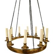 American French Empire Style 10 light Brass Chandelier Circa 1950's