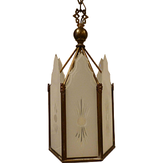 Art Deco Hanging Pendant with Etched Glass Panels circa 1915-30's