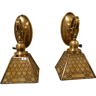 Pair of Authentic Handel Brass Sconces with Fish Scale Overlay Shades, Signed