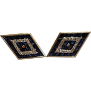 Pair Lucian Piccard 14k cufflinks with Diamonds and Sapphires c1960's