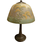 "Handel Reverse Painted 14"" Goldenrod Floral Table Lamp #6197  circa 1913-15"