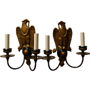Pair of E.F. Caldwell Double Arm American Eagle Brass Sconces, Signed, circa 1920'