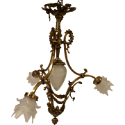 French Bronze 3 arm Chandelier with Glass Floral Petal Shades circa early 20c