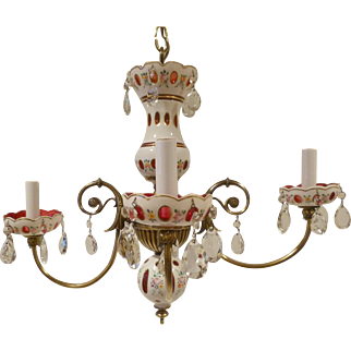 Czechoslovakian Chandelier Brass & Enamel Decorated Cased Glass  c 1950's