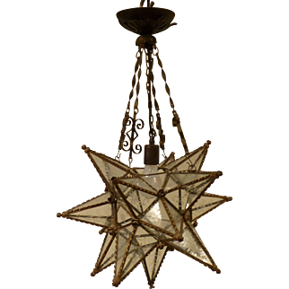 Antique Moravian Star Pendant with Etched Glass Panels circa early 20c