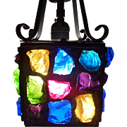 Hall Light Hanging Pendant Wrought Iron With leaded Chunk Glass. Circa 1953.