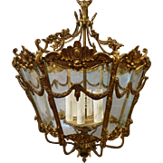 French Style Ornate Brass with Etched Glass 6 light Pendant Circa 1950's