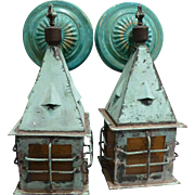 Pair Copper Exterior Cottage Sconces circa 1920's-30's
