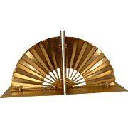 Pair Asian Style Fan Brass Bookends circa 1960's