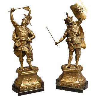 Antique Pair of Roman Gladiator Metal Figures c 1900-1920