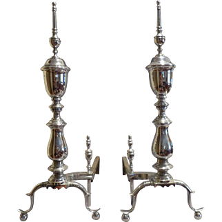 Pair of Chrome Andirons with Ball Feet circa 1960's