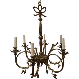 French Silvered Bronze 6 Light French Horn Style Chandelier early 20c