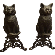 Pair of Cat Andirons with Glass Eyes circa early 20 c RARE
