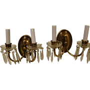 Pair Brass Double Arm Sconces with Crystals circa 1920's-30's