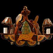 Continental Folk Art Handmade Iron 5 Light Tole Chandelier with Animals & Birds Circa 1040's-50's