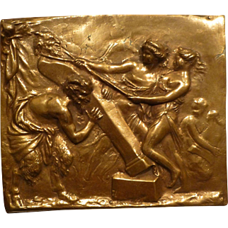 French Antique Bronze Plaque with Satyr, Devil & Maidens circa 19c