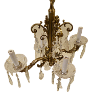 French Brass 4 Arm Chandelier with Crystals circa 1930's