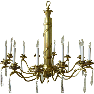 Federal Style 12 Arm chandelier with American Bald Eagles circa 1920's-30's
