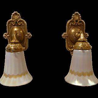 Pair Authentic Quezal Art glass Sconces with Ribbon Decoration Signed circa 1920'-30's