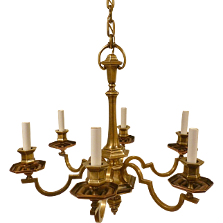 Antique E.F. Caldwell Bronze 6 Arm Chandelier Signed Circa Early 20c