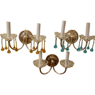 Set of 3 Silver Plate Brass Double Arm Sconces, with Crystals Circa 1920's-30's