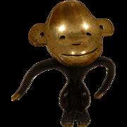 Mid Century Austrian Brass Corkscrew, Figural Monkey, Att Walter Bosse