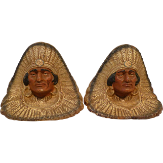 Pair of Indian Chief Bookends Full Headdress circa 1920's-30's