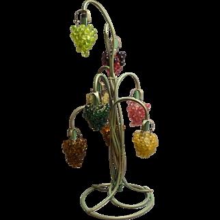 Italian Brass and Glass Grapevine Lamp Circa 1930's Rare
