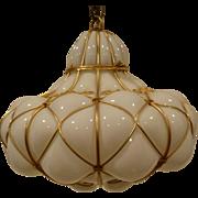Murano Glass Pendant Chandelier  Blown Into Wire Circa 1950's.