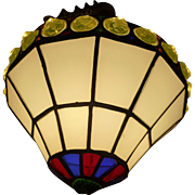 Leaded Stained Glass Hanging Pendant Circa 1930's
