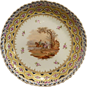 Antique Hand Painted Dresden Footed  Cake Stand by Helena Wolfhon Circa 1843-1883