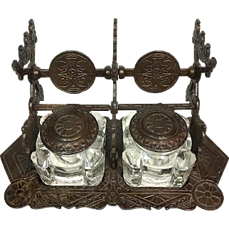 Antique double inkwell set with metal stand