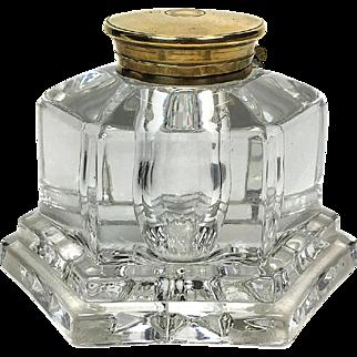 Antique Glass & Brass Inkwell
