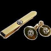 Diamond Gold-Filled Tie Bar and Cufflink Set